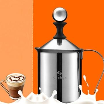 Manuelle Milchaufschäumer, Saebye 400ML Edelstahl Milchaufschäumer Doppel mesh Schaumbecher Schaumstoff Sahnekännchen -