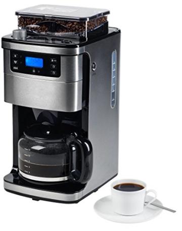 MEDION MD 15486 Kaffeemaschine mit Mahlwerk und Glaskanne für aromatischeren Kaffee, Wassertank: 1,5 Liter, 8 Mahlstufen, max. 1050 Watt, silber, edelstahl -