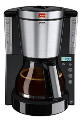 Melitta Look 1011-1008 Timer - Kaffeekanne mit Filter-Glas-Stunde- AromaSelector- programmierbar schwarz / Stahl -