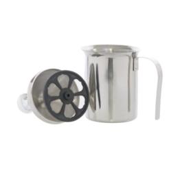 Milchaufschäumer aus Edelstahl zur manuellen Bedienung, 0,5 Liter Fassungsvermögen, geeignet für die Spülmaschine, transportabel, leicht und doch stabil, ideal für Camping, Reisen und Urlaub -