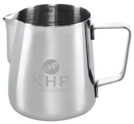 Milchkännchen 350ml von KHP Professional, perfekt für Milchaufschäumer, aus rostfreiem Edelstahl, Milch aufschäumen, silber, Milchkanne, Cafe Art, Milchschaum, Aufschäumkännchen -
