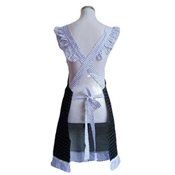 Musuntas Cute Princess Style Dots Muster Falbala Dekor Frauen Küche kochen Schürze mit 2 Bowknot Taschen (schwarz + weiß) -