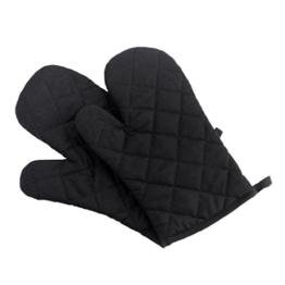 Niyatree 1 Paar Hitzebeständig Ofenhandschuhe Hitzeresistente Topflappen Backhandschuhe aus Baumwolle und Polyester - Schwarz -