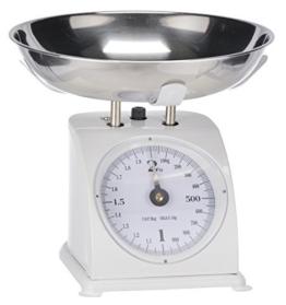 Nostalgie Küchenwaage Retro Standwaage bis 2kg Mechanische Waage Analog Briefwaage weiß aus Metall -