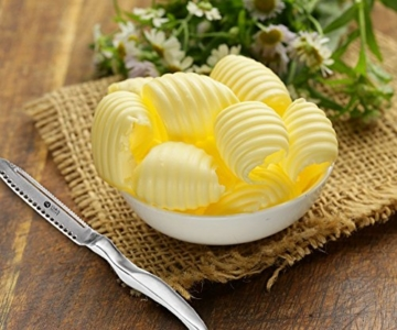 Oak & Steel - Luxuriöses 3 in 1 Buttermesser und Käse Messer - streicht und lockt Butter -