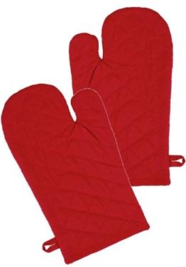 Ofenhandschuh im 2er Grillhandschuh Set Design Klassik Uni, 19x32cm, Farbe: rot -