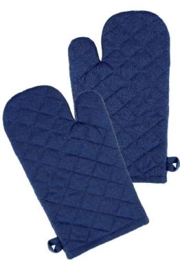 Ofenhandschuh im 2er Kochhandschuh Set Design Klassik Uni, 19x32 cm, Farbe: dunkel - blau -