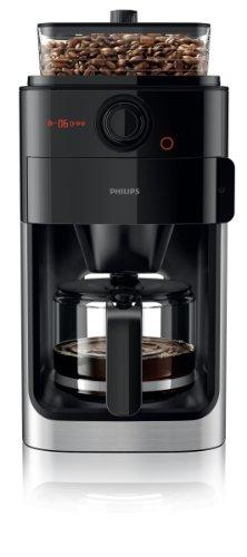 Philips HD7765/00 Grind&Brew Filter- Kaffeemaschine, Einzelbohnenbehälter, schwarz/metall -