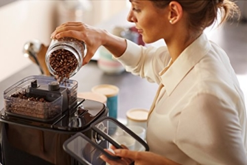 Philips HD7766/00 Grind&Brew Filter-Kaffeemaschine, doppelter Bohnenbehälter, schwarz/metall -