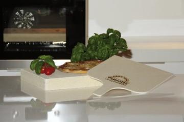 Pimotti 202_003 Schamott Pizza-/Brotback Stein, Schaufel und Anleitung mit Rezepte im Set, 4 cm -