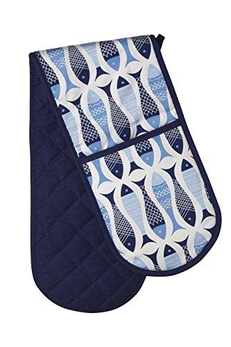 Premier Housewares Fische Kitchen Doppelter Ofenhandschuh, blau -