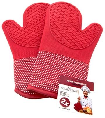 Primekitchen Topfhandschuhe aus Silikon & Baumwolle 2-teilig / Punkte / Ofenhandschuhe für Küche und Grill / Topflappen 1 Paar (Rot) -