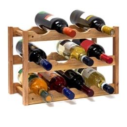 Relaxdays 10019279 Weinregal klein 28 x 42,5 x 21 cm Holz Flaschenregal mit 3 Ebenen für 12 Flaschen Wein kleiner Weinflaschenhalter aus Walnuss geölt zur waagerechten Lagerung, natürlich -