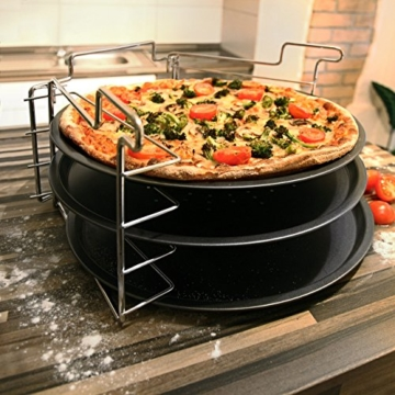 Relaxdays Pizzablech im 3er Set 33 cm Pizzabäcker-Set mit 3 Backblechen und Ständer als Pizza-Backblech und Flammkuchen Blech rundes Pizzabackblech mit Antihaftbeschichtung, anthrazit -