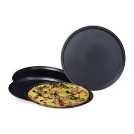Relaxdays Pizzablech im Set mit großem Durchmesser: ca. 32 cm runde Backbleche für Pizza und Flammkuchen Pizza-Backblech im 4er Set Pizza Backset mit antihaftbeschichteten Blechen Pizza-Set, anthrazit -