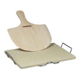 Relaxdays Pizzastein Set 1,5 cm Stärke mit Metallhalter und Pizzaschieber aus Holz HBT 7 x 43 x 31,5 cm rechteckiger Brotbackstein für Pizza und Flammkuchen mit Pizzaschaufel für Pizzaofen, natur -