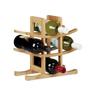 Relaxdays Weinregal aus Bambus, für 9 handelsübliche Flaschen, originelles Design, freistehend, HBT: ca. 30 x 30 x 14,5 cm, natur -