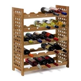 Relaxdays Weinregal Walnuss für 25 Flaschen HxBxT: 73 x 63 x 25 cm Flaschenregal Holz aus Walnussholz geölt mit 5 Etagen für je 5 Flaschen Weinflaschenregal, natur -