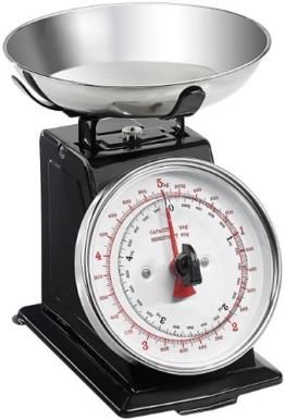 Rosenstein & Söhne Analoge Metall Retro-Küchenwaage bis 5 KG mit Tara-Funktion -
