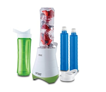 Russell Hobbs 21350-56 Standmixer Mix & Go Cool /Smoothie Maker(300 Watt) inkl. 2 Trinkflaschen mit Kühlakku, weiß-grün -