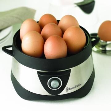 Russell Hobbs Cook@Home 14048-56 Eierkocher (für gekochte und gedämpfte Eier) schwarz/silber -