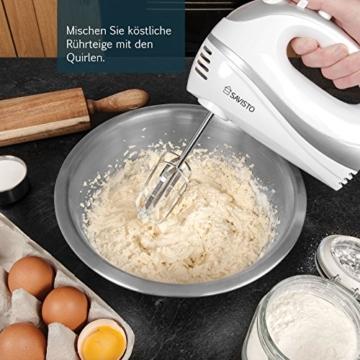 Savisto 300W Elektrisches Handmixer mit Quirl, Knethaken und Schneebesen Aufsatz - 5 Geschwindigkeitsstufen und Turbotaste Handrührgerät - Weiß / Grau -