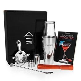 Savisto Premium Cocktail Set mit Boston Cocktail Schüttelbecher, Glas, Rezeptbuch mit 500 Rezepten, 25ml & 50ml Messbecher, gedrehtem Barlöffel, Sieb, Holzstössel, & Elegante Geschenkbox -