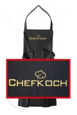 Schürze mit Stickerei Chefkoch, hochwertig bestickt, Schürzenfarbe schwarz, Schürze und Stickerei deutsche Produktion -
