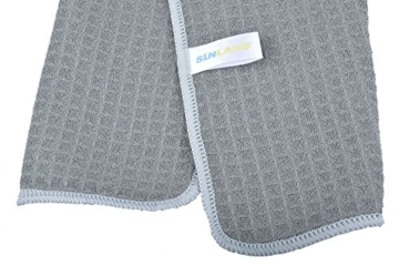 Sinland Microfaser Geschirrtücher Dick Waffel küchenhandtücher 40cmx60cm 10 Stück für Geschirr , Glas , Fenster Grau -