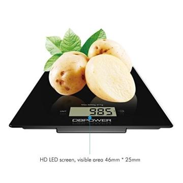 Smart Digitale Küchenwaage, Multifunktionsküche-Nahrungsmittelskala Messen, 11 £ / 5kg High Precision Touch-Sensitive, ausgeglichenes Glas, Schwarz [Energieklasse A+++] -
