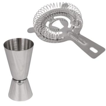 TecTake Cocktailshaker Set aus Edelstahl in Silber mit 6 Teilen bestehend aus Shaker, Messbecher, Sieb, Löffel, Zange und Eiskübel -