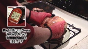 The Triumphant Chef Super Flex Silikon Ofenhandschuh, wattiertes Deluxe-Futter, 1 Paar, Dunkel-Rot, Gratis Saucen-Pinsel -
