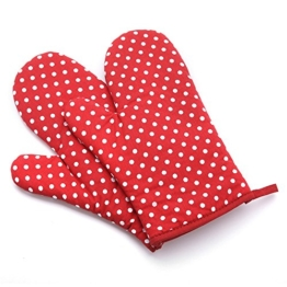 UBEST Ofenhandschuhe Backofen Isolierung verdicken, verlängern Topfhandschuhe, Baumwolle, 1 Paar, Rot Dot -