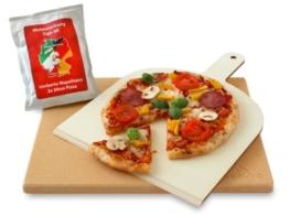 Vesuvo V38301 Pizzastein- / Brotbackbackstein Set für Backofen und Grill / eckig / 38x30 cm / mit Pizzaschaufel und Pizzamehl -