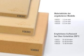 Vesuvo V38303 Pizzastein- / Brotbackbackstein Set für Backofen und Grill mit Pizzaschaufel und Pizzamehl, eckig, 38 x 30 x 3 cm -