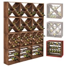 """Weinregal / Flaschenregal System CUBE 50, Modul 3 """"Standard"""" für 15 Fl., Holz Fichte, tobacco, stapelbar / erweiterbar - H 50 x B 50 x T 25 cm -"""