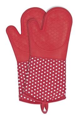 WENKO 2102168100 Topfhandschuhe Silikon Rot - 1 Paar, Baumwolle, Rot -