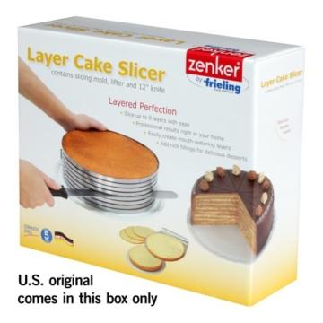 Zenker 7705 Tortenboden-Schneidhilfe mit Konditor-/Glasurmesser und Tortenhebeblech, patisserie -