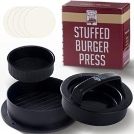 Antihaft-Hamburgerpresse, 40 Wachspapierscheiben kostenlos Ð Einfache Bedienung, SpŸlmaschinengeeignet Ð Funktioniert am Bested n mit gefŸllten Patties, Minipatties, Rinderpatties Ð Basics fŸr Grill -