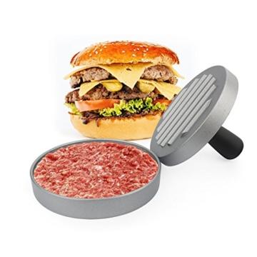 Belmalia Burgerpresse + 40 Blatt Backpapier für perfekte Burger, Hamburger, Cheeseburger, Frikadellen, Patties, Presse, Grill, antihaftbeschichtet, 11 cm -