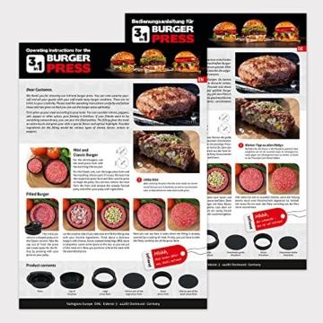 Int!rend sein mit der 3 in 1 Burger Press - Hamburger selber machen, perfekt für Frikadellen Hackfleisch Cheeseburger Buletten Burgerpresse | Patty Maker Hamburgerpresse Küchenhelfer Grillzubehör BBQ -