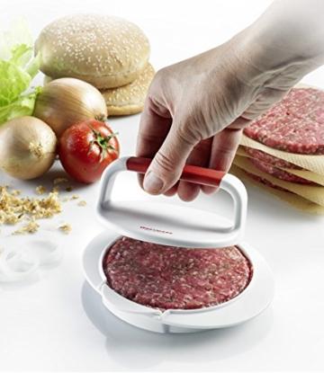 Westmark Hamburgermaker mit Patty-Hebevorrichtung, Hamburger-Presse, Innendurchmesser 11,5 cm, Kunststoff, Weiß/Rot, 62332260 -